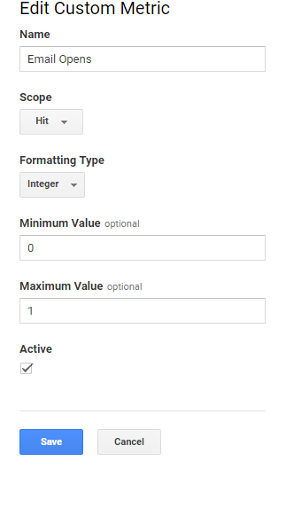 Google Analytics Custom metric settings