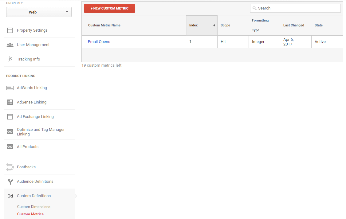 add a custom metric in google analytics